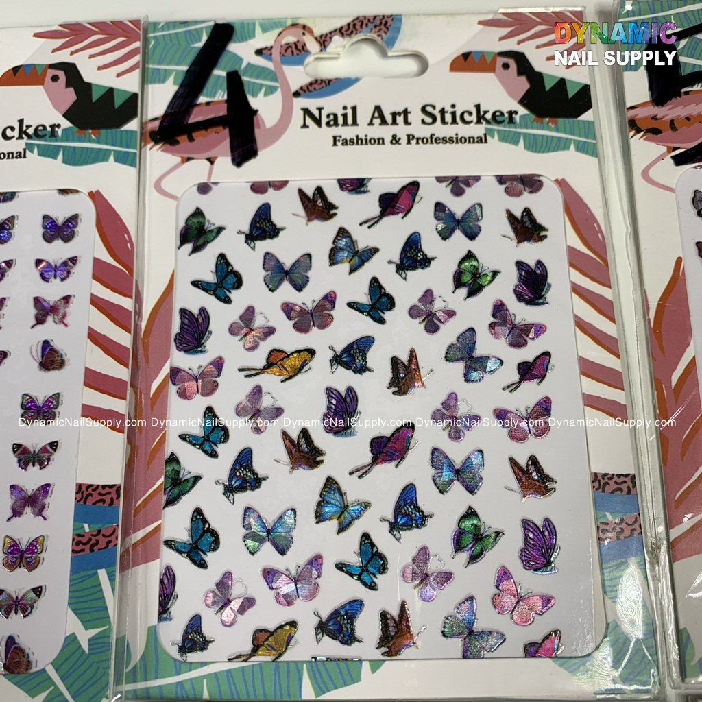 3D Holographic Nail Sticker Gold Silver Butterfly Nail Art Stickers