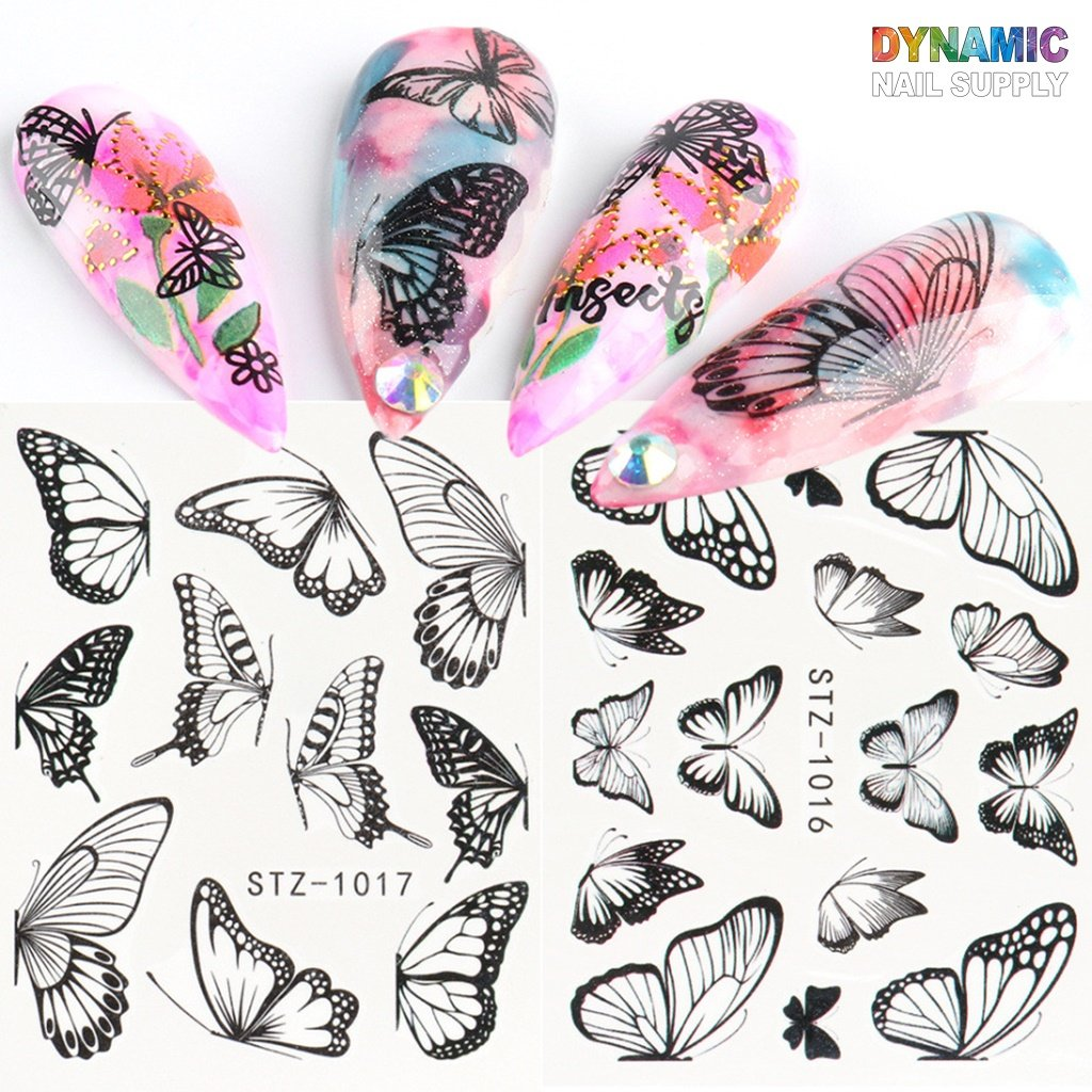 24 sheets / 1 pack of Butterfly Water Decals - 3D Nail Art Decoration Decals for Designer