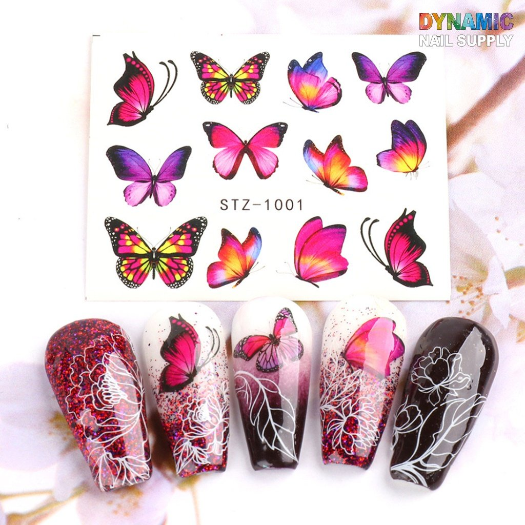 Butterfly Nail Art Stickers 24 Sheets Colorful Nail Water Transfer Decals Flower Pattern Nail Decals for Gel Nail Polish Dip Powder Nail Design with Tweezers Home Use Manicure Nail DIY Decoration