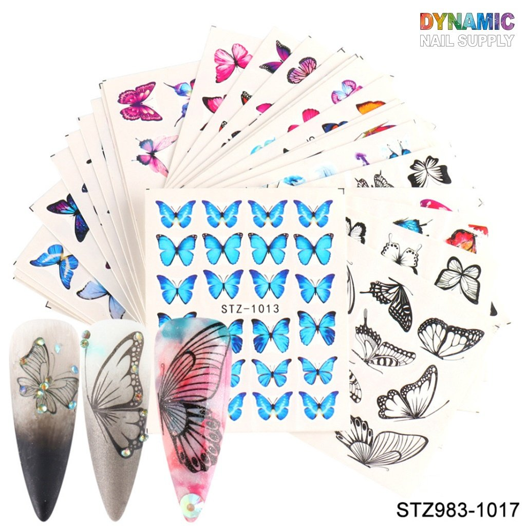 Butterfly Nail Art Stickers Water Transfer Nail Stickers Butterfly Designs for Nails Supply Watermark DIY Colorful Butterflies Nail Art Foils for Nails Design Manicure Tips Decor