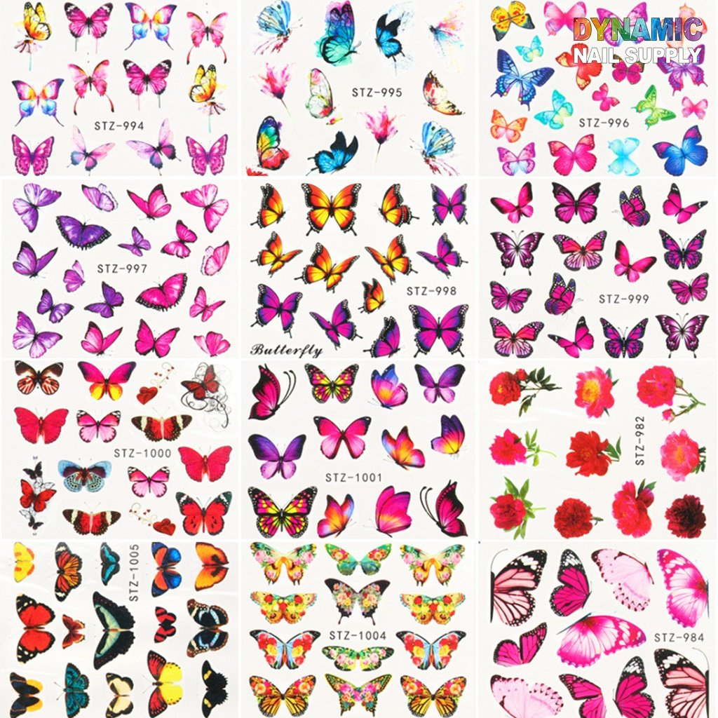 3D Butterfly Nail Art Stickers Flower Butterfly Nail Design Supplies Self Adhesive Butterfly Nail Decals Acrylic Nail Accessories Butterflies Nail Art Foils Manicure Tips DIY Nail Art
