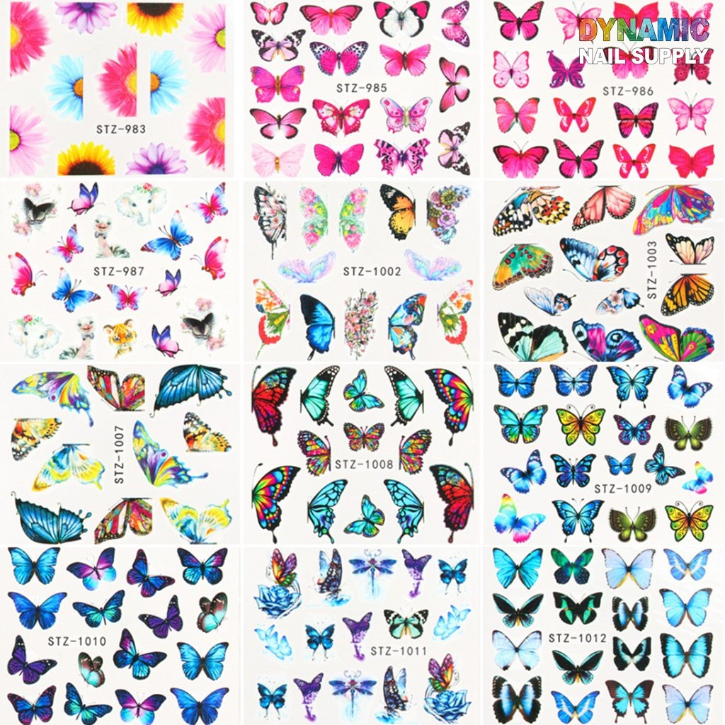 Butterfly Nail Art Stickers 3D Colorful Butterflies Design Charms Nail Decals Nail Art Supplies Flowers Self Adhesive Tattoo Paper For Women Nail Toe Nail DIY Decorations Accessories
