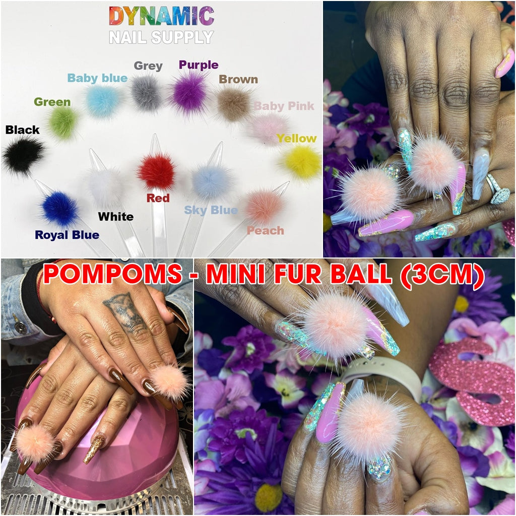 1 PAIR of magnetic Pompoms for Nails Art Design - Mini Pom Poms - Mink Fur Ball