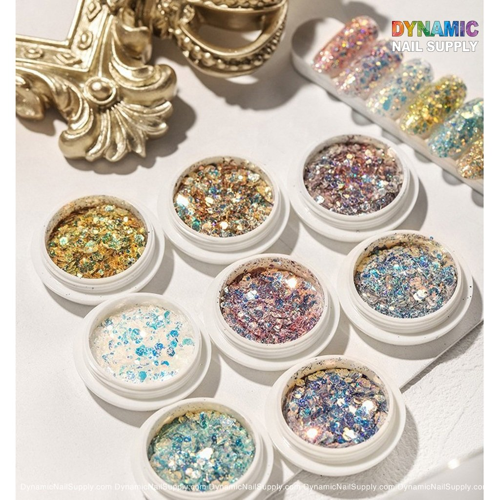 Colorful Nail Sequins Chunky Glitter Flakes Iridescent Nails Design DIY Sticker Glitter Nail Art Decoration