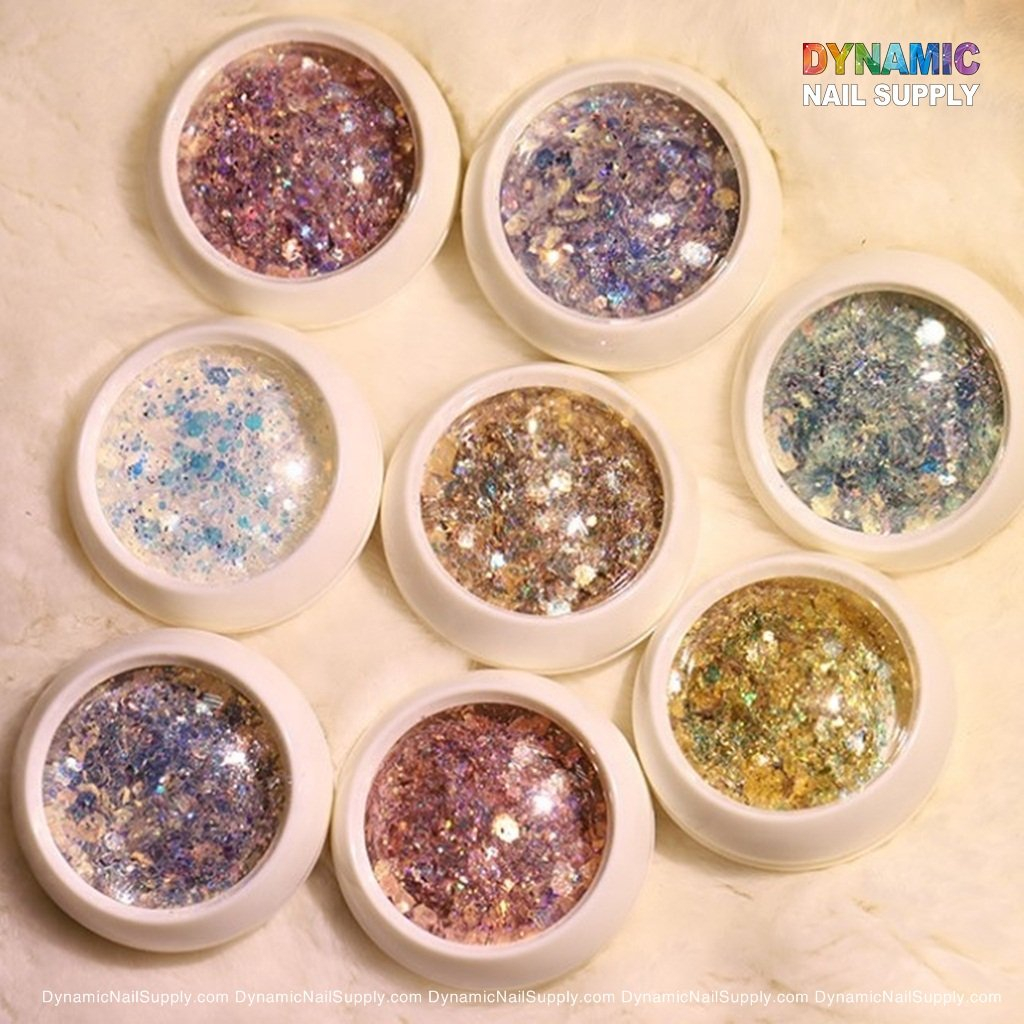 Colorful Iridescent Glitters Set - 8 boxes per set - For Nail Art Designs