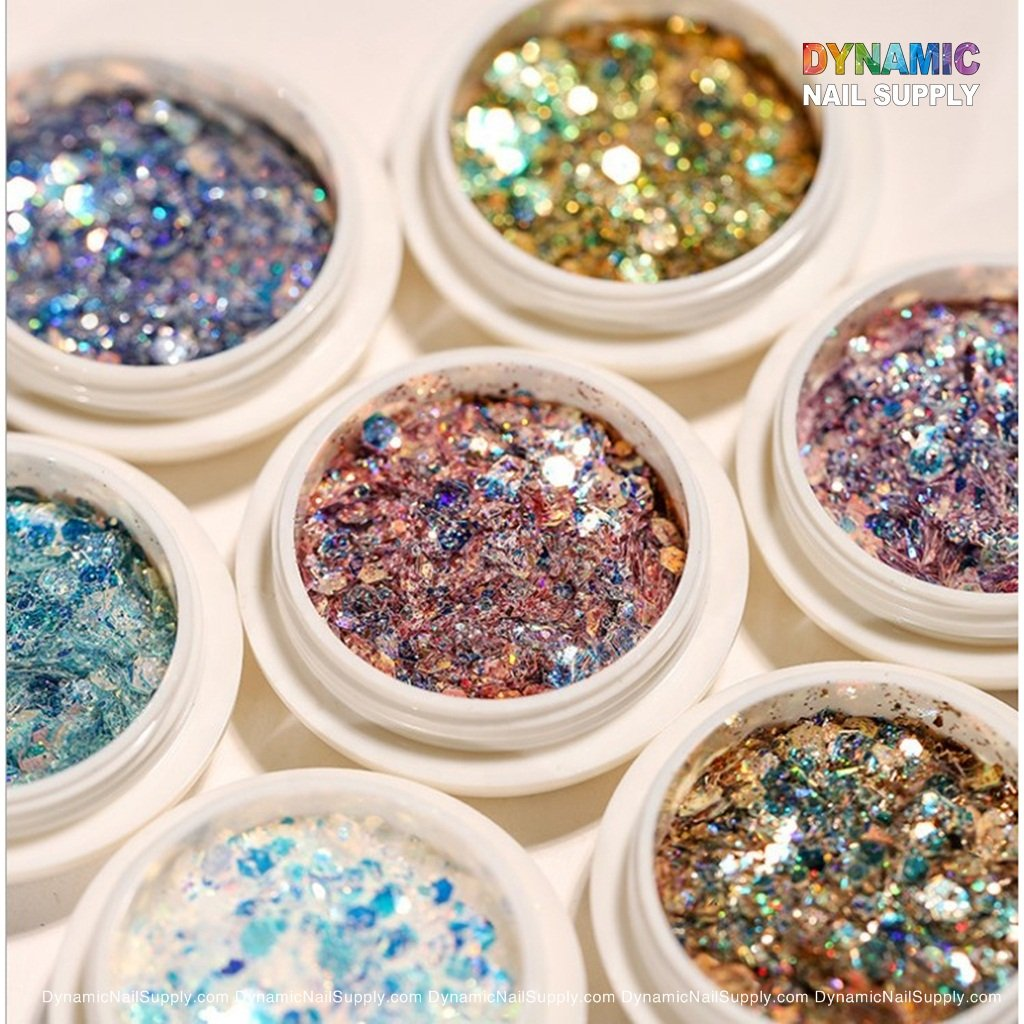8 Boxes Holographic Nail Sequins Iridescent Mermaid Colorful Nail Glitter Sparkly Nail Flakes Semitransparent Fine for Nail Art Crafts Festival