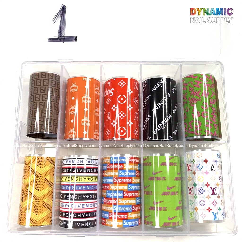 Nail Art Stickers Tips Wraps Foil Transfer Glitters Acrylic DIY Nail Decoration