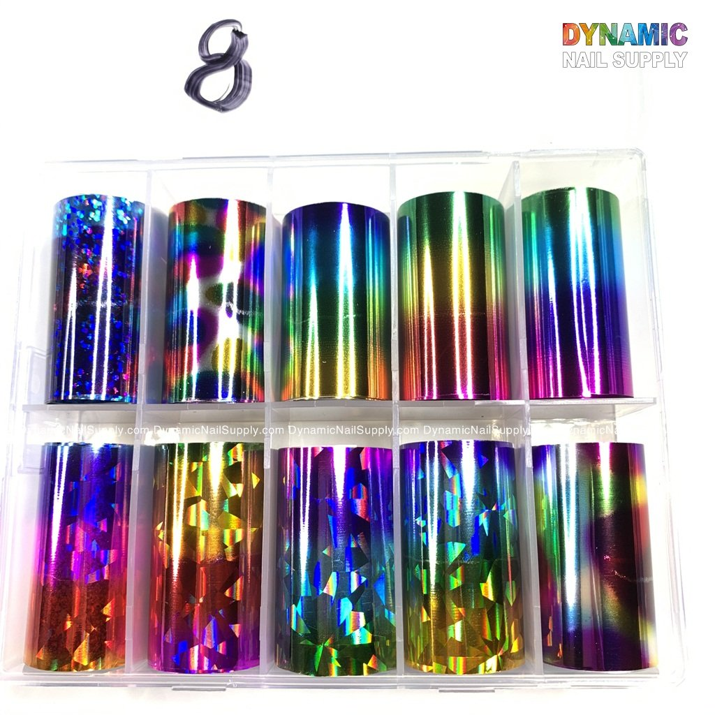 10 Rolls Nail Art Foil Stickers Mirror Tip Design Starry Sky Adhesive Nail Transfer Decals Manicure Decoration