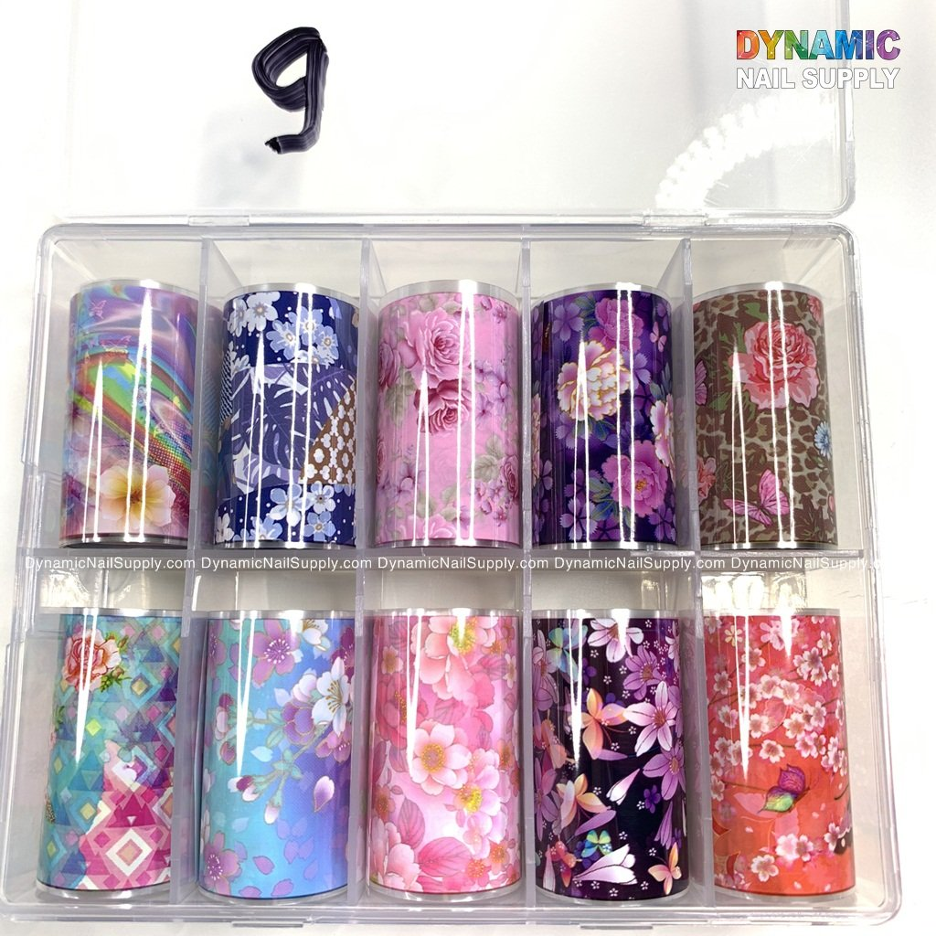 10 Holographic Rolls Nail Art Transfer Stickers DIY Decoration for Nail Art Salon or Home Use