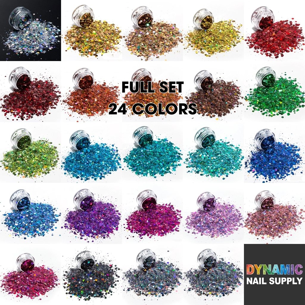 KCK 0820 Chunky Mix Shape Laser Color nails art glitter - Dynamic Nail Supply