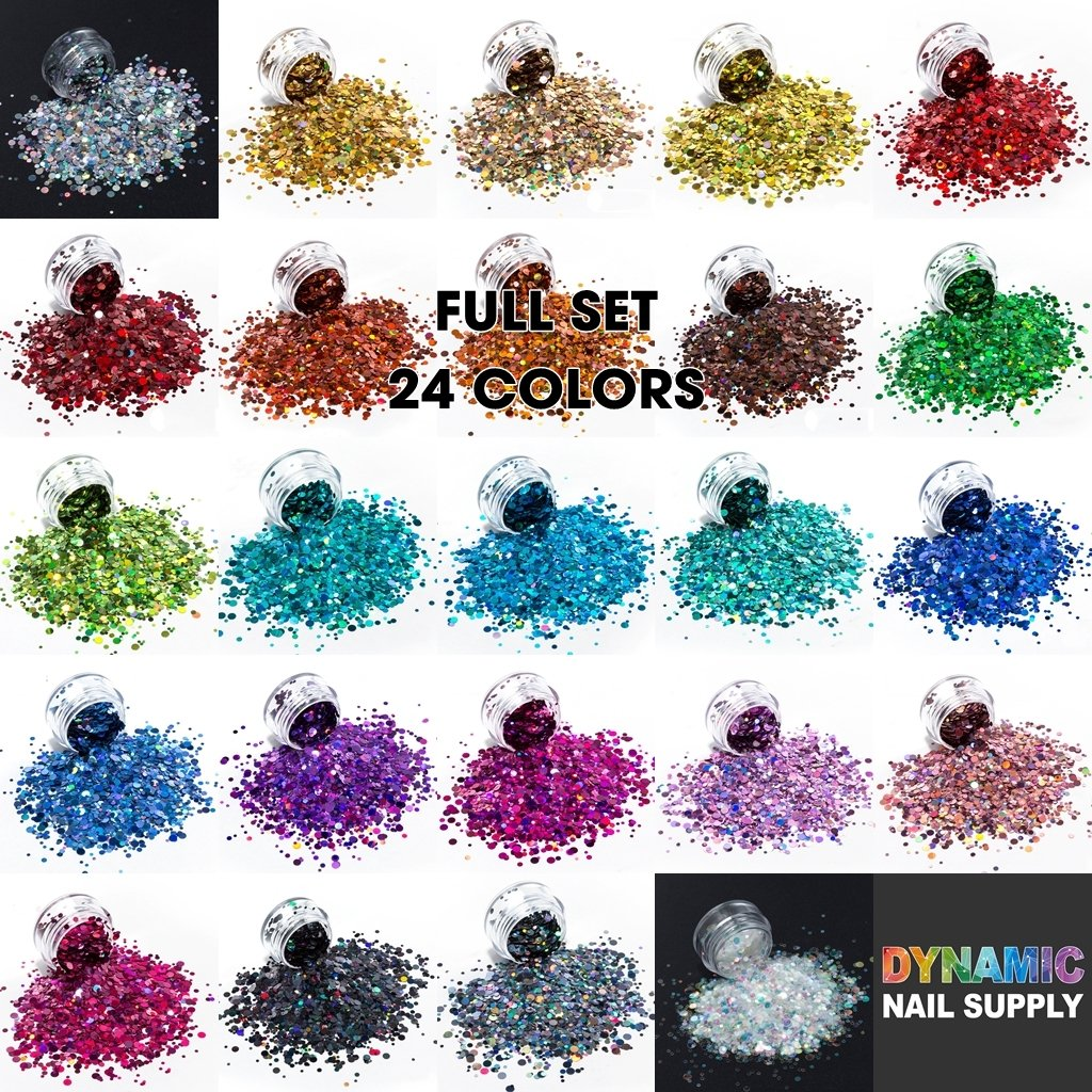 KCK 0830 Round Dot Shape Laser Colors nails art glitter - Dynamic Nail Supply