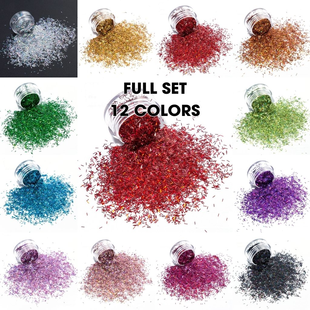KCK 1050 Holographic Colors 0.2*1.5MM Size Tinsel Strip Short Bar Shape nails art glitter - Dynamic Nail Supply