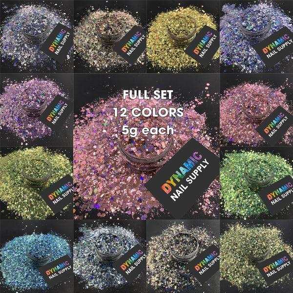 KCK 3470 Holographic Solvent Resistant Chunky Mix Hexagon nails art glitter - Dynamic Nail Supply