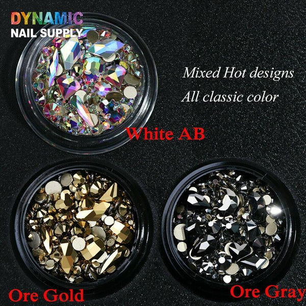 Glitter Glass Flatback Rhinestone - Dynamic Nail Supply