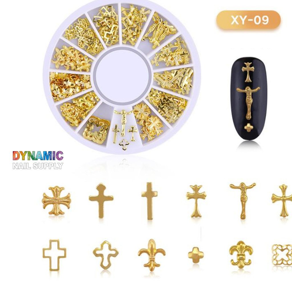 Gold metal nail studs for nail decoration