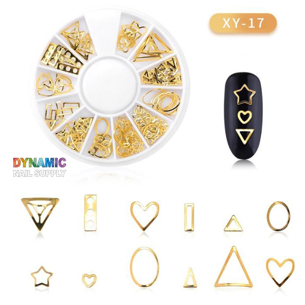 3D Nail Art Charms Nail Jewelry Supplies Punk Star Moon Heart Triangle Square Rivet Gems for Manicure Tips Designs Nail Art Kit