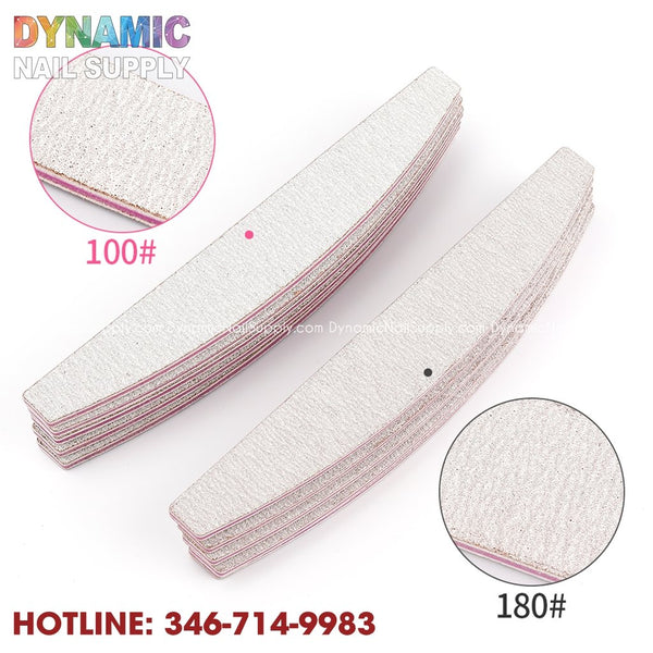 Half Moon Sanding Nail File Buffer for Nail Polishe Grinding - Double Side Sand Paper - Dynamic Nail Supply