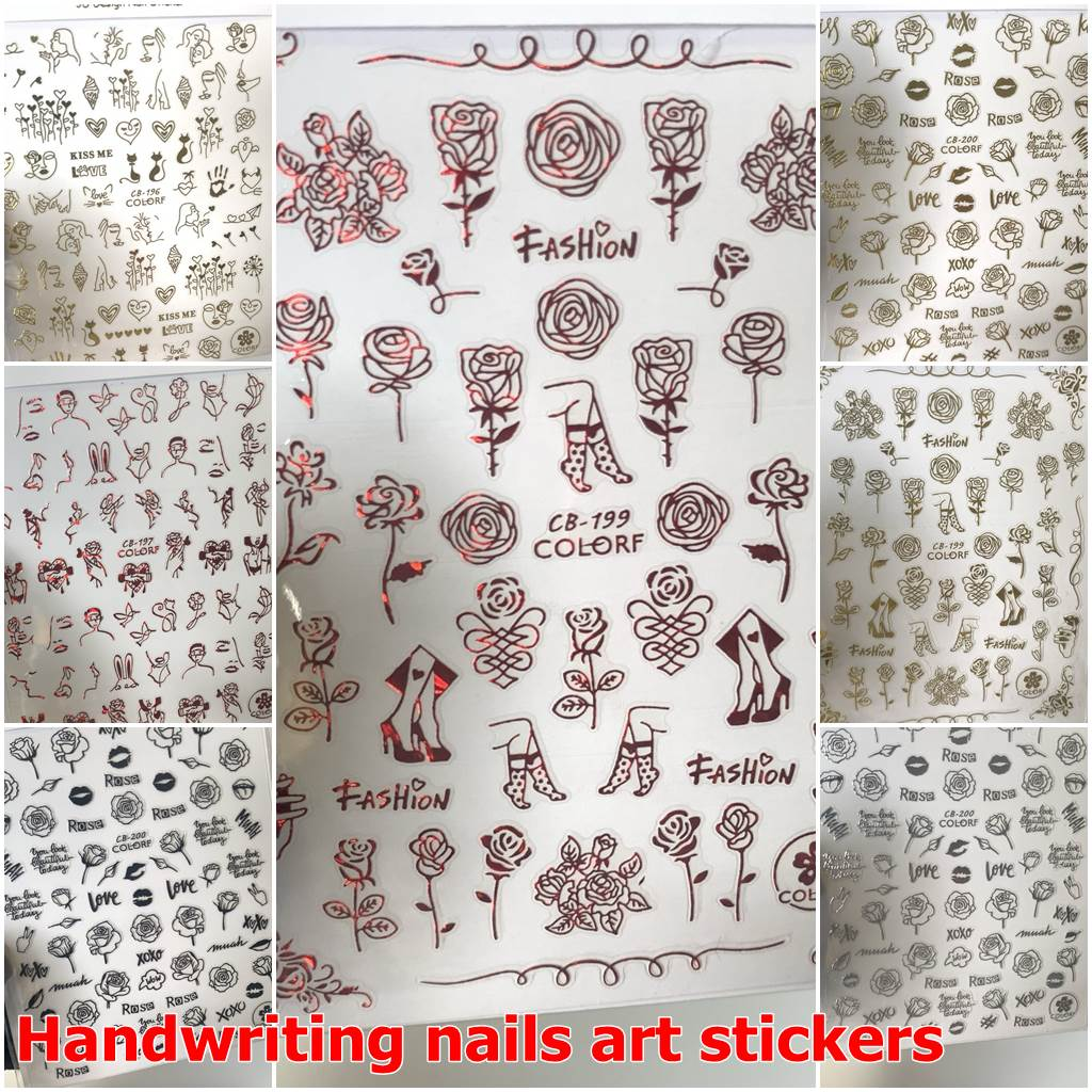 Handwriting nails art stickers for nail art design