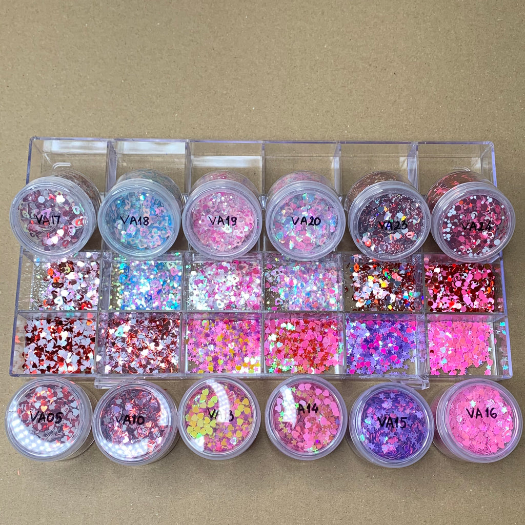 Valentines Glitter Collection for Nails designer - (Valentine Glitters - Heart Shape)