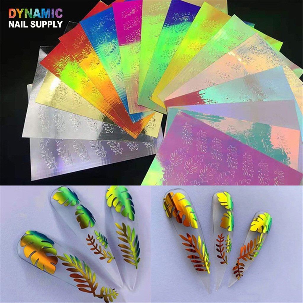Hot Design 16pcs/set - Holographic Leaves Sticker for Nail Art Decoration