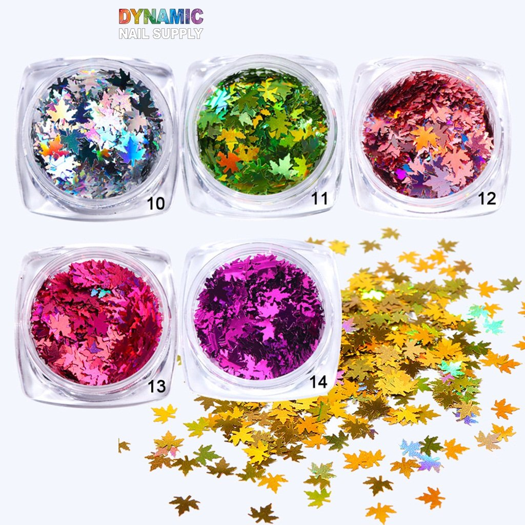 Warmfits Maple Glitter Fall Foil for Nail Art Holographic Fall Nail Art Chunky Glitter Brown Bronze Orange Gold Foil Red Glitter for Nail Art Stickers Crafts Resin DIY Christmas Decorations