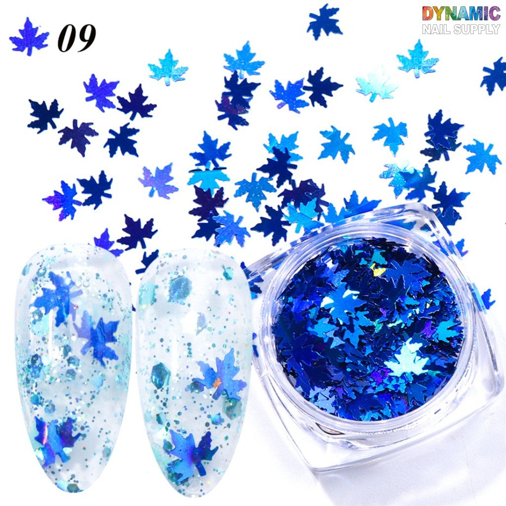 5 Glitter Nail Boxes Maple Leaf Colorful Nail Flakes Chunky Fall Leaves Glitter For Face And Nails