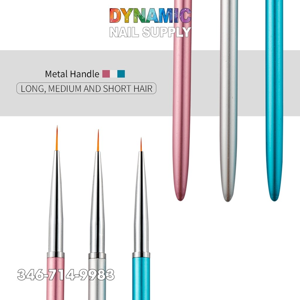 Metal Handle Nail Art Liner Brushes Painting Drawing Flower Pen - Dynamic Nail Supply