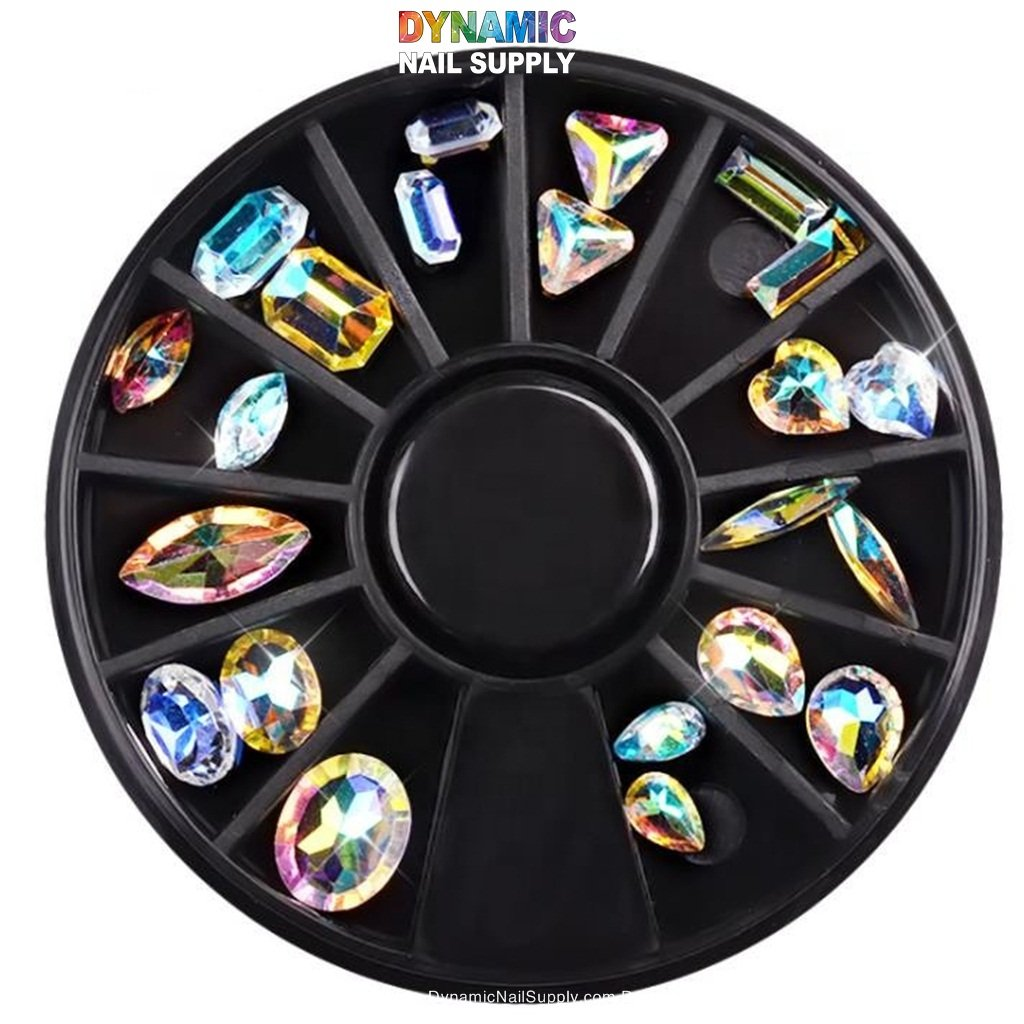 Nail Art Rhinestones AB Color Nail Jewelry Decorations Gold Silver Nail Studs Rivet Ball Beads Marquise Rhinestones Flat Bottom 5 Boxes with 1pc Rhinestone Picker Pen