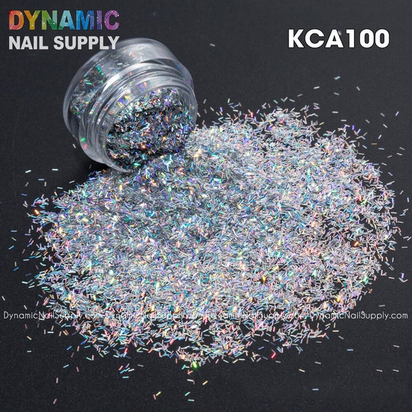 KCK 1060 Holographic Colors 0.1*0.8MM Size Tinsel Strip Short Bar Shape nails art glitter - Dynamic Nail Supply