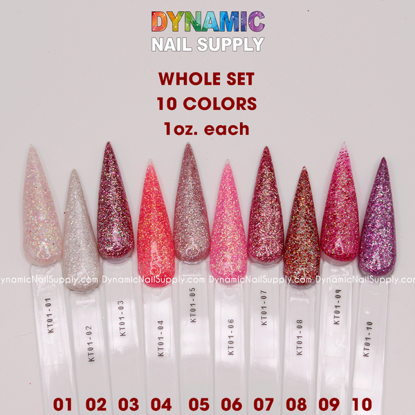 Hot Pink and Sparkle Glitter - Acrylic Nails & Dipping Powder - Set KT01 - Dynamic Nail Supply