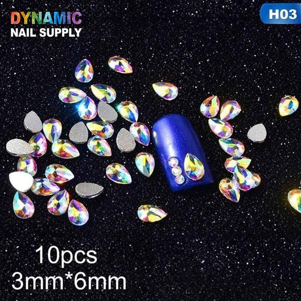 Super Glitter Crystal Nail Gems Oval Waterdrop Diamond Shinny Stone Nail Art Rhinestone Manicure Tips - Dynamic Nail Supply