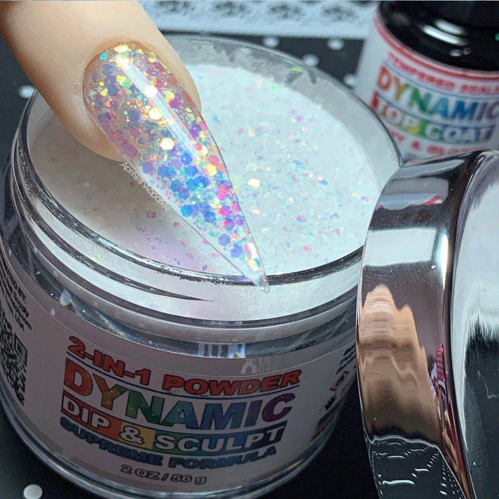 White holographic glitter nail powder - Dynamic Nail Supply