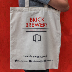 Canvas Tote Bag with Brick Brewery Logo Peckham London