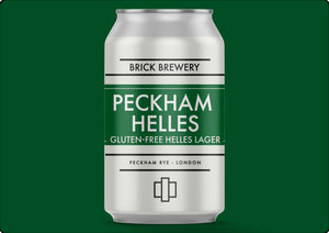 330ml Can of Peckham Helles Gluten Free Beer from Brick Brewery in Peckham, London - Render