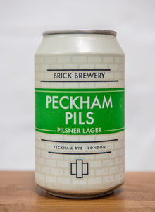 330ml Can of Peckham Pils Beer from Brick Brewery in Peckham, London