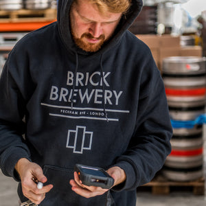 Unisex Black Hoody with front pouch from Brick Brewery Peckham, London