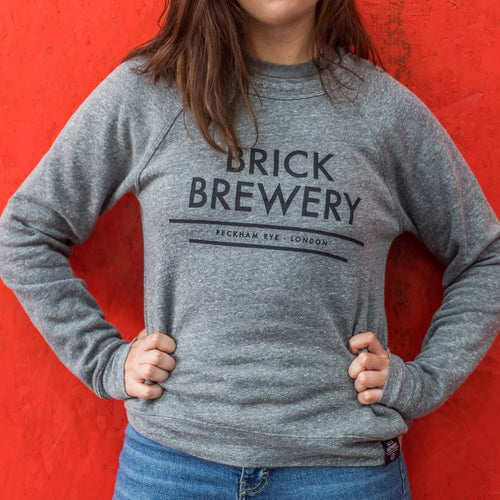 Unisex Grey Logo Sweatshirt from Brick Brewery Peckham - Front