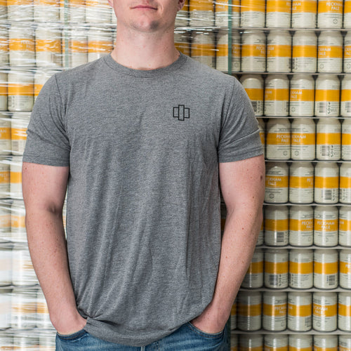 Unisex Grey T-Shirt with Brick Brewery Logo - Front