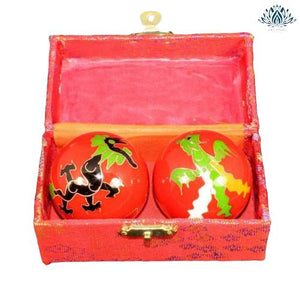 Boules chinoise rouge avec dragon