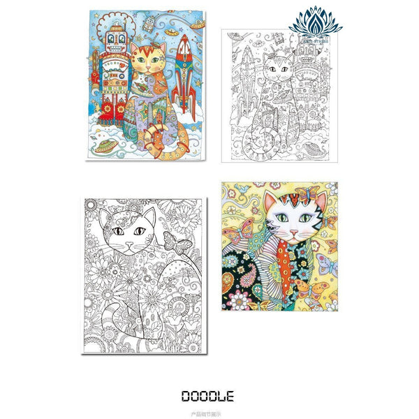Coloriage chat anti stress enfant