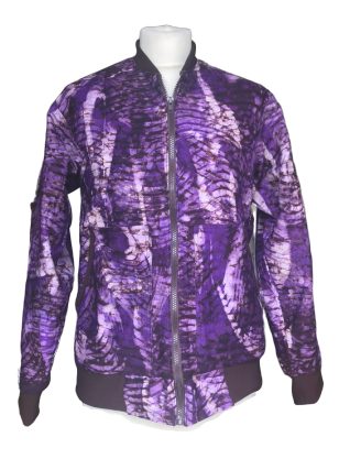 Batik Purple Bomber Jacket-Jackets-Letasi Design Studio