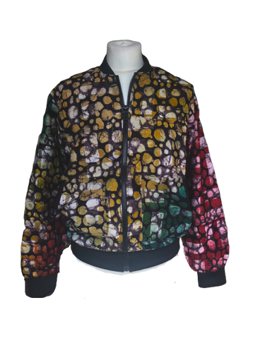 Batik multicoloured spotted Bomber Jacket-Jackets-Letasi Design Studio