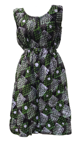 Green dots and lines-Dress-Letasi Design Studio