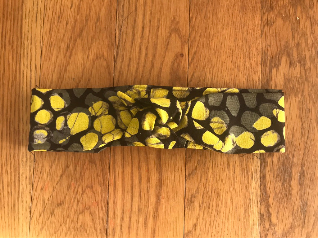 Yellow grey scaled batik headband-Headband-Letasi Design Studio