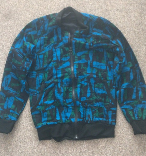 Batik Blue green Bomber Jacket - size 12-Jackets-Letasi Design Studio