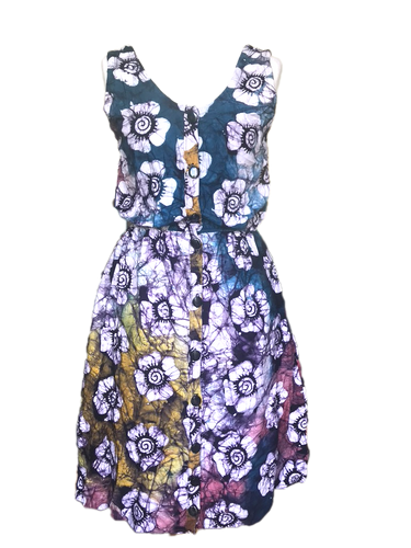 Batik multicoloured white flower-Dress-Letasi Design Studio