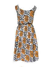 Load image into Gallery viewer, Batik orange sunflower-Dress-Letasi Design Studio