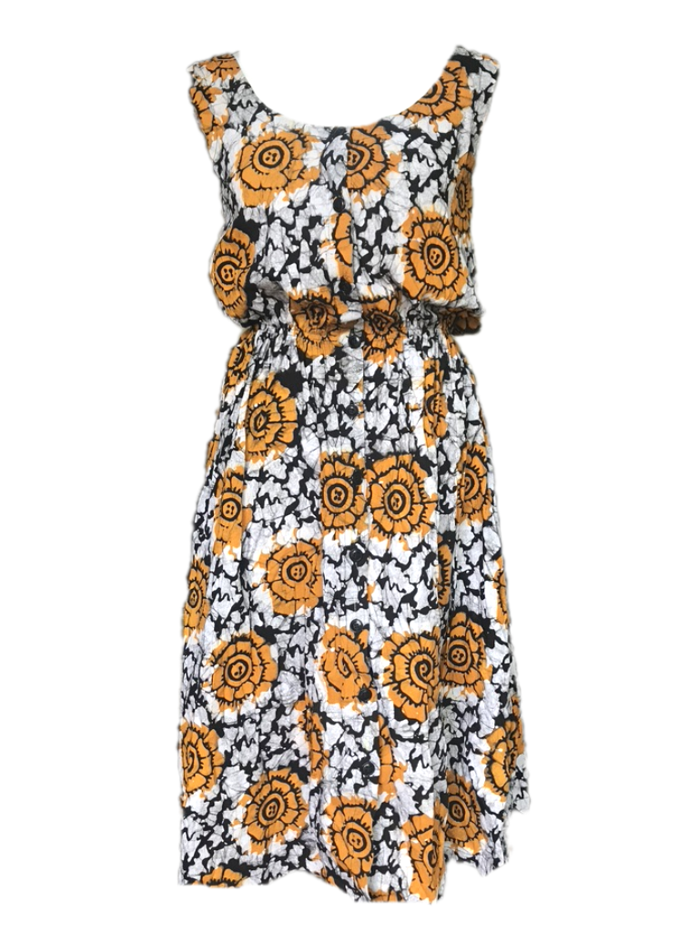 Batik orange sunflower-Dress-Letasi Design Studio
