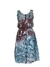 Load image into Gallery viewer, Batik spirals in green red-Dress-Letasi Design Studio