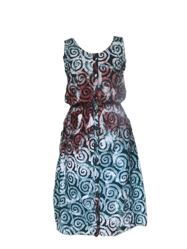 Batik spirals in green red-Dress-Letasi Design Studio